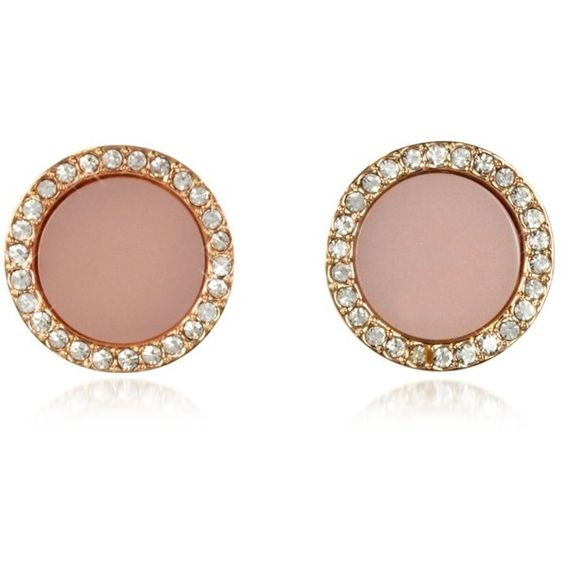 Michael Kors Earrings Heritage Rose Gold Stud Earrings w/Crystals (705 HRK) ❤ liked on Polyvore featuring jewelry, earrings, pink, michael kors earrings, michael kors, stud earring set, pave stud earrings and circle earrings