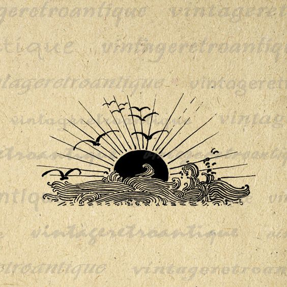 Vintage high resolution digital ocean sunset with waves and birds image graphic for transfers, printing, and other great uses. Great for