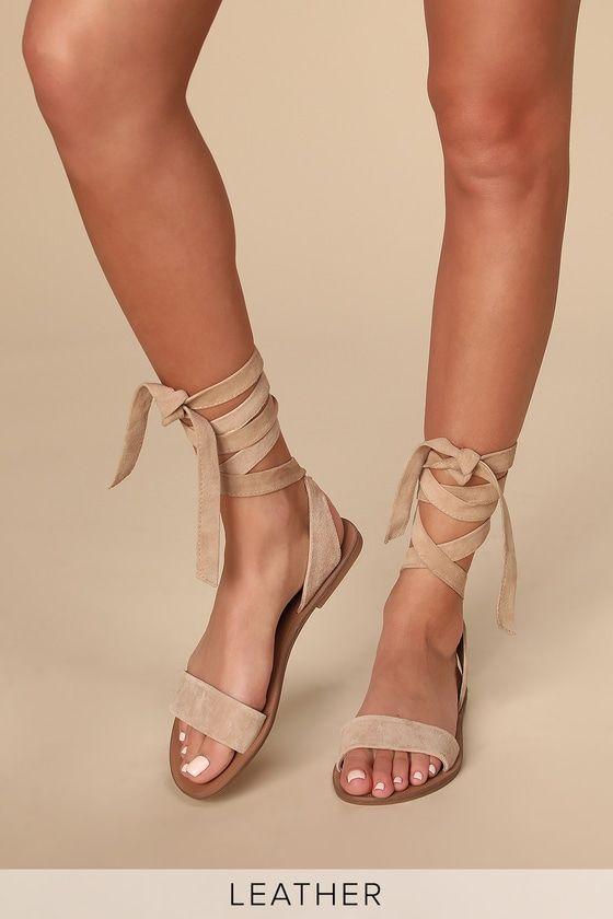 suede tie up sandals