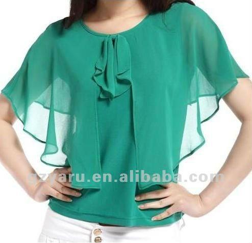 Para mujer blanco con volantes blusa-imagen-Tallas grandes de Camisas y Blusas-Identificación del producto:609090198-spanish.alibaba.com