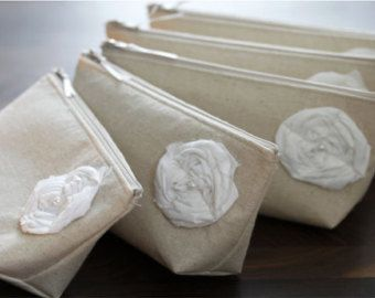 Set of 5 Bridesmaid Gifts Linen Clutches Beige Rustic by SayYouDo