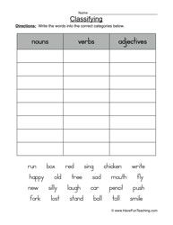 Worksheets Classifying Nouns Verbs And Adjectives Worksheets Answers classifying worksheet nouns verbs or adjectives language and english arts first grade