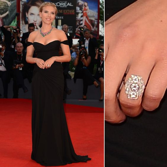 Pin for Later: The Very Best Celebrity Engagement Rings Scarlett Johansson Scarlett Johansson became engaged to her beau Romain Dauriac in August 2013 after he popped the question with a vintage Art Deco ring.