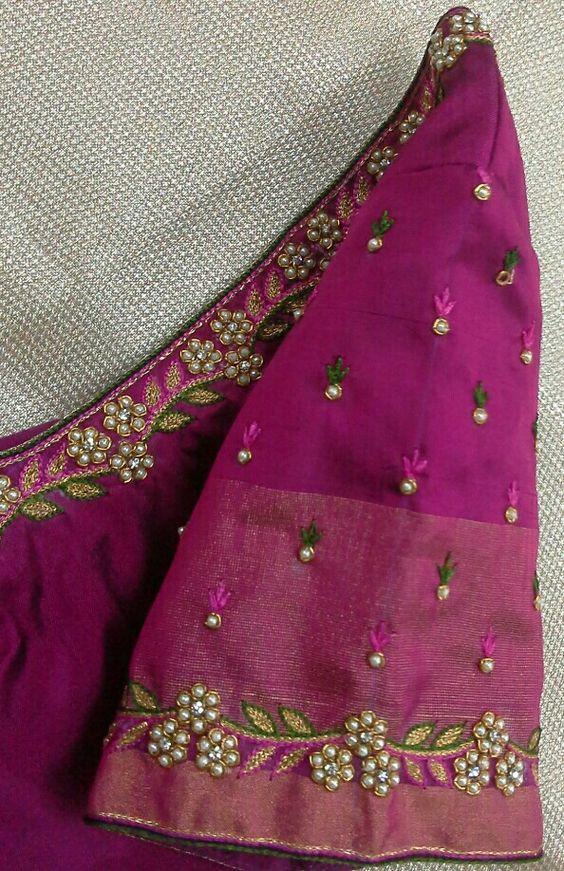 Pattu Blouse Hand With Pearl Work 91 9866583602 Whatsapp