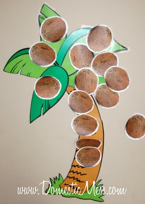 Pin the coconut on the palm tree for luau party