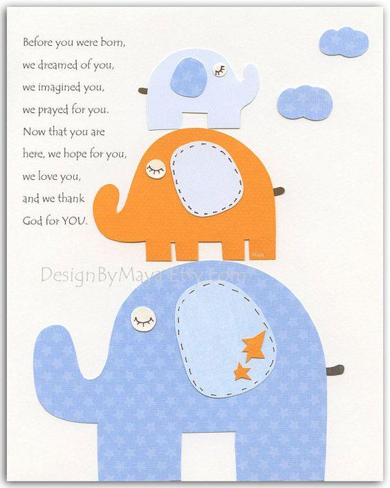 Habitación de niño bebé vivero pared impresión arte elefante... Antes que naciste... bebé azul y naranja...