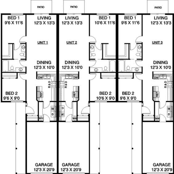 Multi family duplex home designs pinterest ranch for Ranch duplex floor plans