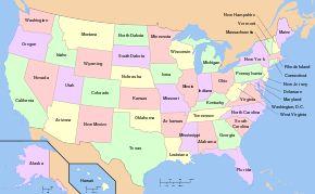 Map of USA with state names - Liste der Bundesstaaten der Vereinigten Staaten – Wikipedia