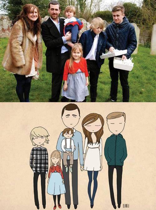 Family portrait bespoke family portrait by Blankaillustration