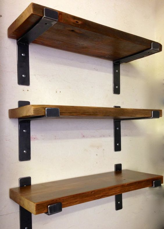 "Modern steel shelf brackets for 2"" x 10"" lumber, Industrial loft style metal shelf brackets and supports. heavy duty shelving"