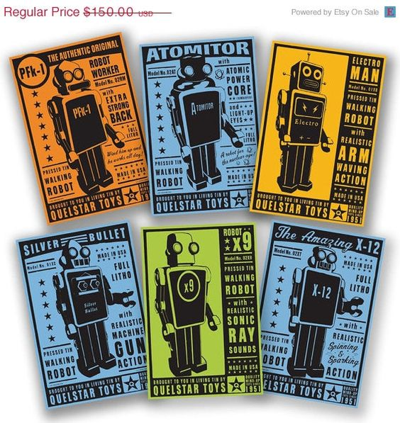 30 OFF SALE Retro Robot  The Quelstar Six  Set of 6 by johnwgolden