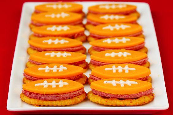 Football shaped snacks..