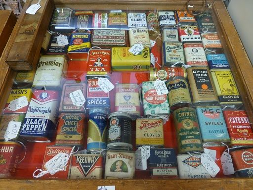 Spice can collection at Angela's Attic in So. Beloit, Illinois