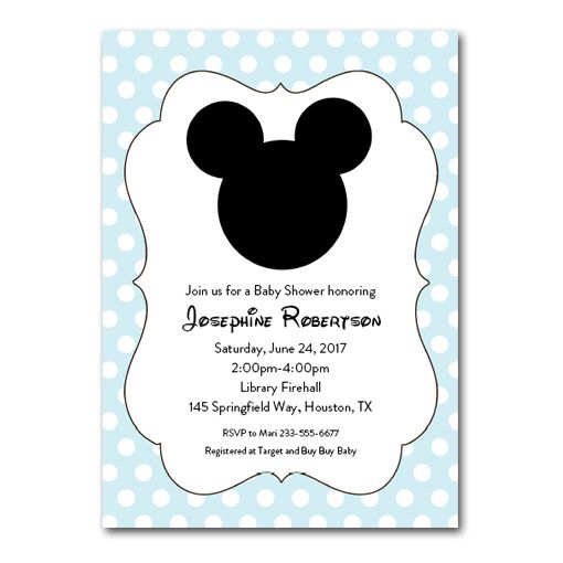 Editable Mickey Mouse PDF Baby Shower Invitation DIY – Light Blue ...