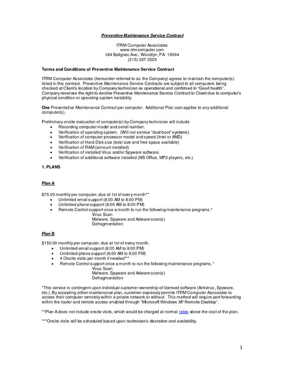 Computer Support Service Contract Sample ~ Computer Support Today ...