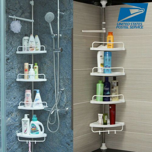 22 29 Telescopic Bathroom Kitchen Shelf Adjustable Corner Shower Rack Organiser Home Shower Storage Shower Rack Bathroom Corner Storage