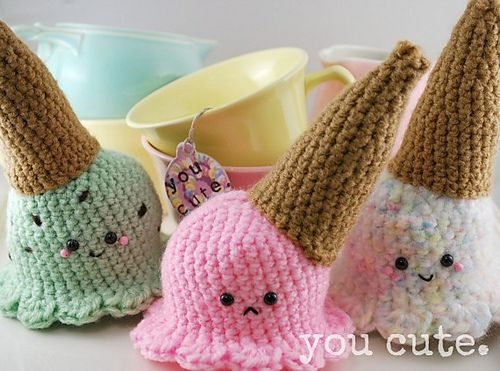 Amigurumi Ice Cream Pattern : Amigurumi Dropped Ice Cream Cone pattern by You Cute ...
