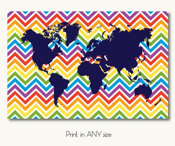 large world map chevron nursery kids room by SunnyRainFactory