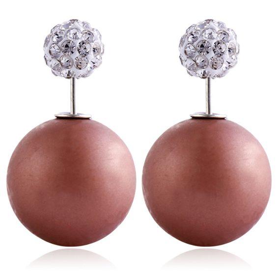 earring earings for girls double rhinestone Double Sided Shining Pearl Stud Earrings Big Pearl Earrings For Women E1380 - E1389 B E S T Online Marketplace - SaleVenue |