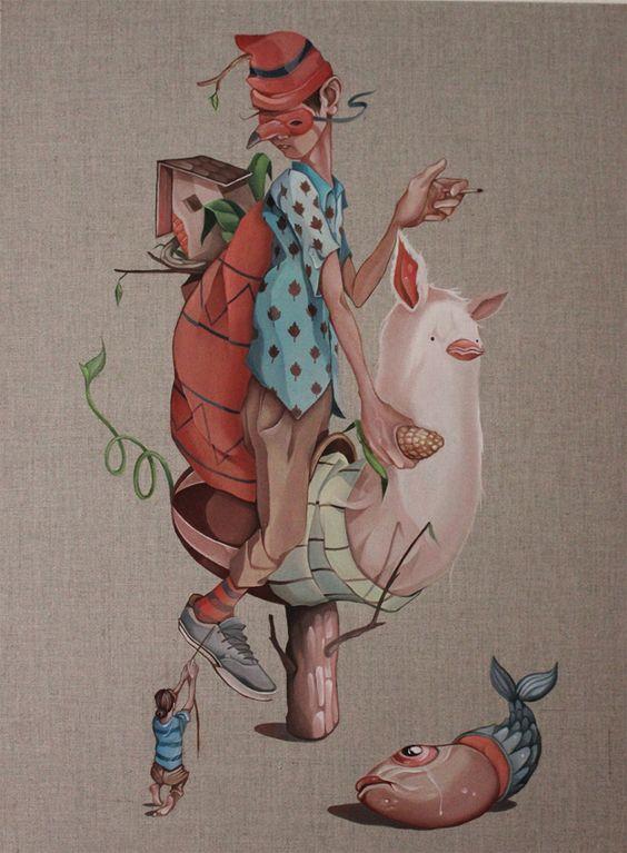 "Twee Muizen ""Gigante"" Oil on linen. Available: www.plasticmurs.com/portfolios/gigante  #popsurealism #surreal #art"
