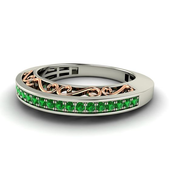 Emerald Ring Emerald Eternity Ring Two toned Eternity band with pave set Emeralds in 14K Gold  - Fiona on Etsy, $543.00