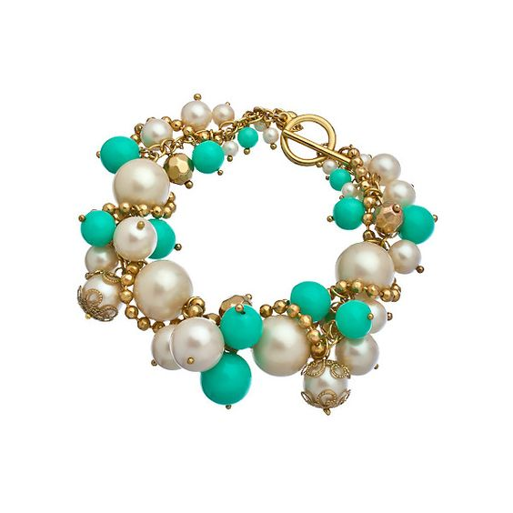 Carolee White Pearl Turquoise Cluster Charm Bracelet ($65) ❤ liked on Polyvore
