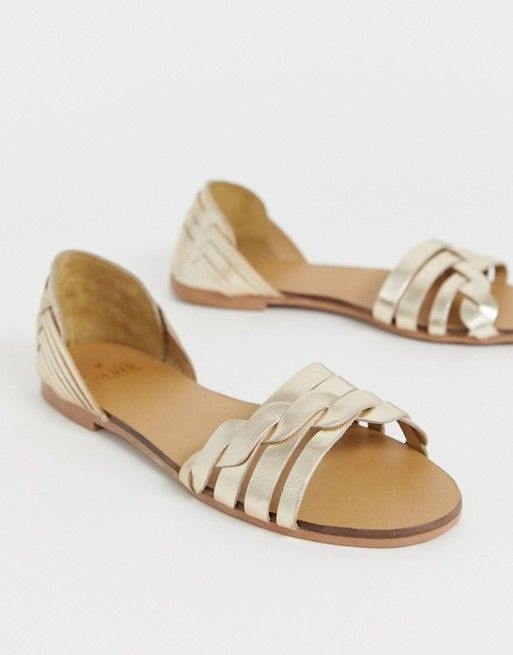 the best attitude 0514f e8aae Oasis flat huarache sandals in gold | ASOS | Shoenatic in ...