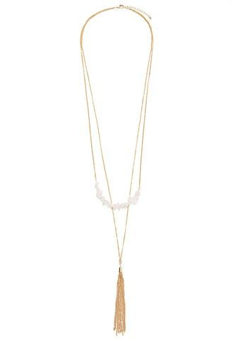 Faux Stone Tasseled Necklace   Forever 21 - 1000095721