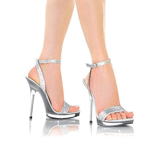 VIP 5 inch Handmade Silver Glitter / Clear Ankle Strap High Heel ...
