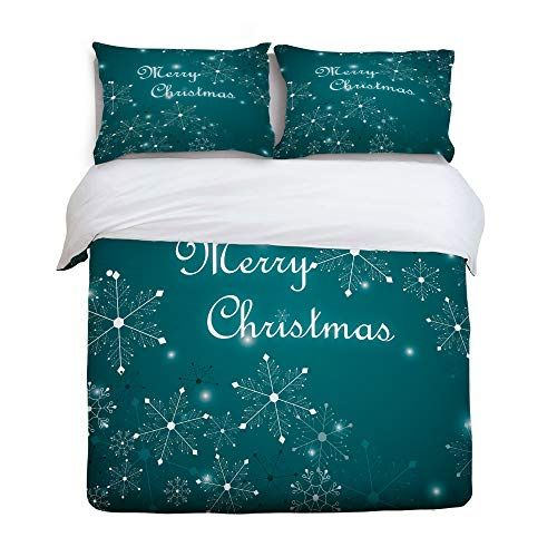 3 Piece Bedding Printed Duvet Cover Set Queen Merry Christmas Bright Snowflake Hotel Quality Luxury Plush Microfiber Duvet Cover Sets Christmas Bedding Bed