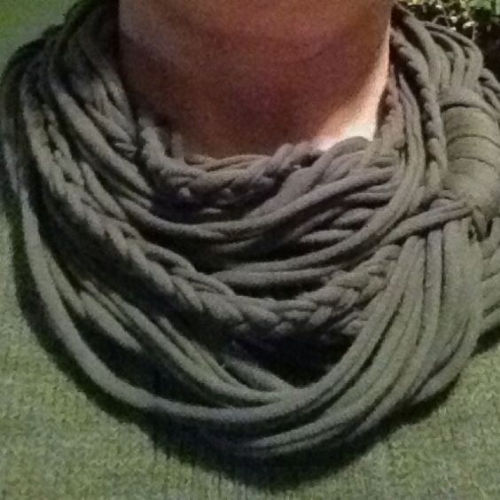 T-shirt scarf made from pix I've seen on Pinterest...like this charcoal gray but excited to make brighter version next