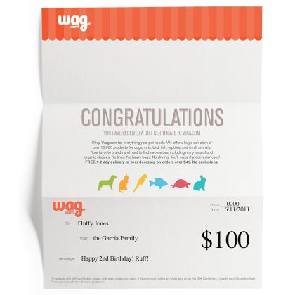 [Wag.com] Gift Certificate