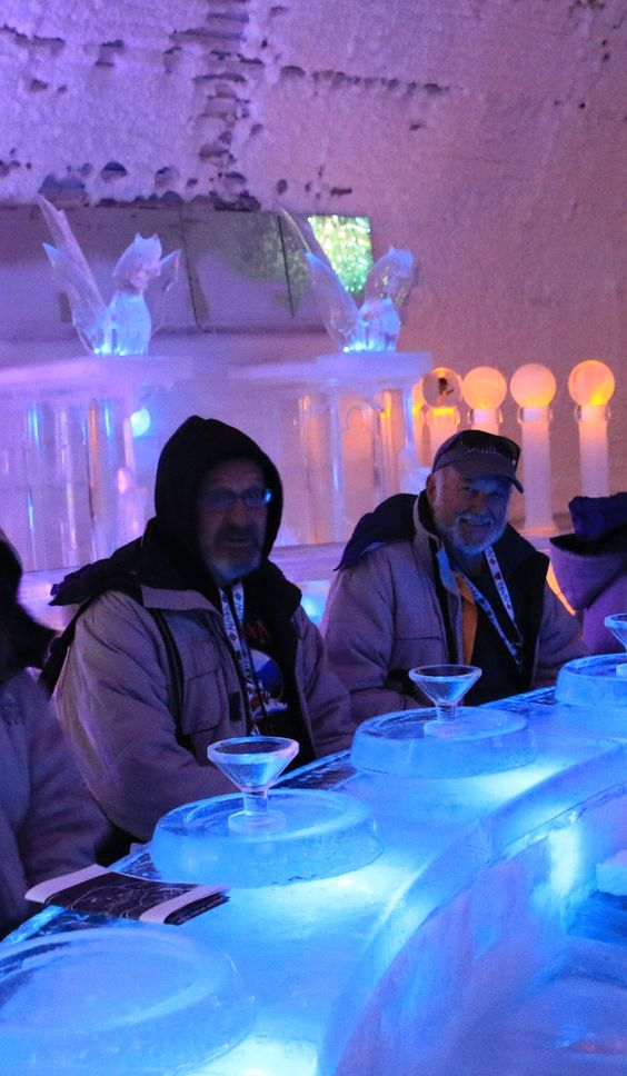 John Hall's Alaska guests enjoy an appletini inside the Ice Museum