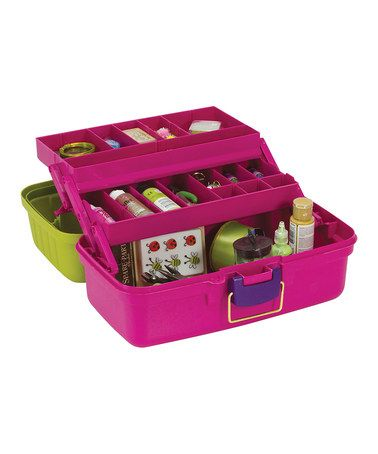Magenta & Green Cantilever Craft Box by Creative Options $12.99.  I love this 'girly' fish tackle type box!
