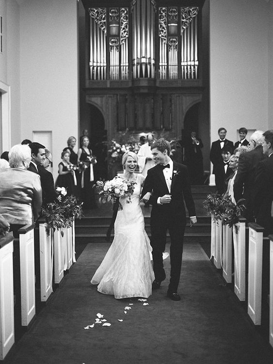 """""""The moment when the church doors opened and we saw each other was unlike anything I've ever experienced. It sounds cliché, but I couldn't get down the aisle quick enough."""" Photo: Lauren Kinsey / Event Planning & Design: Jessica Sloane   Snippet & Ink"""