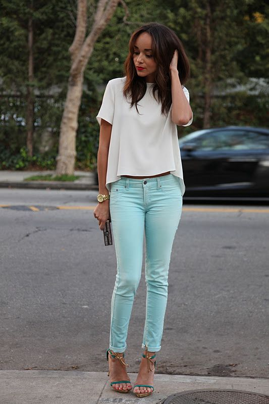 turquoise pants - I love the shoes
