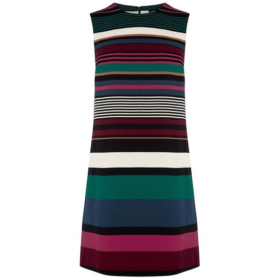 Warehouse Striped Shift Dress ($76) ❤ liked on Polyvore featuring dresses, women, sleeveless shift dress, blue stripe dress, blue shift dress, stripe dress and striped dress
