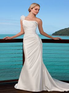 One Shoulder Chapel Train Column or Sheath Organza and Satin Gown Style 5512