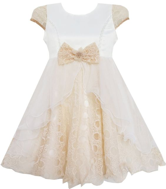 Girls Dress Bow Tie With Beading Lace Skirt Wedding Beige Size 4-10 Years