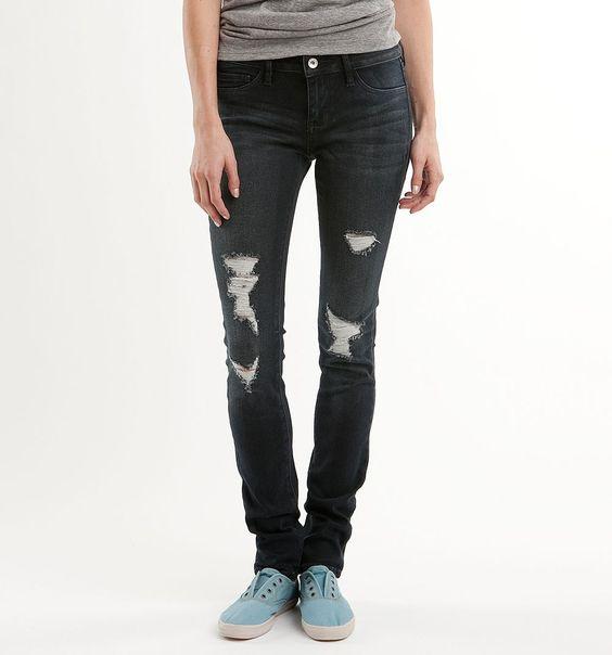 Bullhead Black Destroy Denim Legging Dark Destruct Jeans $56.86