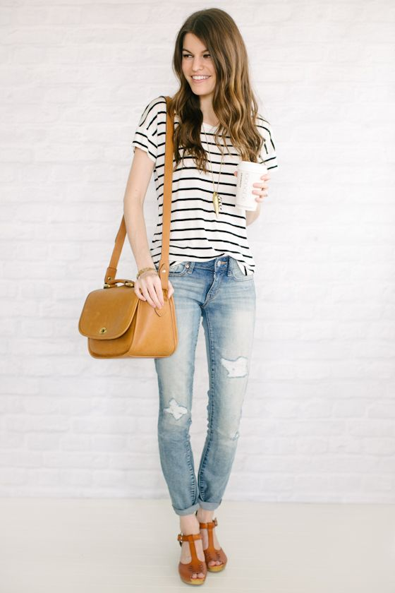 YES! Clogs, stripes, distressed jeans: