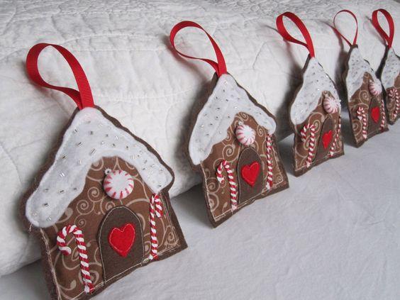 Felt Gingerbread House Ornaments  ~ complete instructions