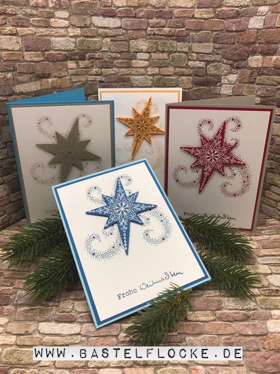 www.bastelflocke.de - Weihnachtskarte Teil I #stampinup #weihnachten # weihnachtskarte #stempeln #embossing #stanzen #weihnachtsstern #stern #thinlits #sternenzauber #umschlag