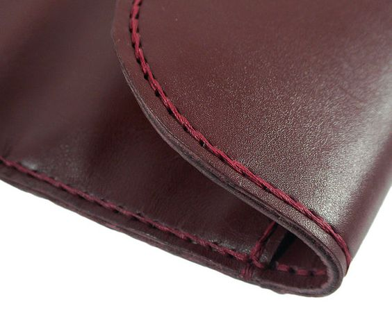 Handmade bordeaux leather purse hand stitched with by mispWorkshop, $80.00