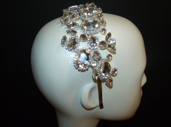 Rhinestone headpiece by OvertheTopHats on Etsy, $69.00