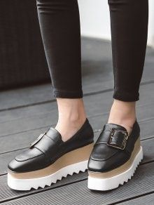 Square Toe Belt Buckle Wedge Shoes