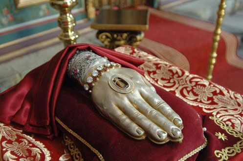 Reliquary of the #hand of John the Baptist.