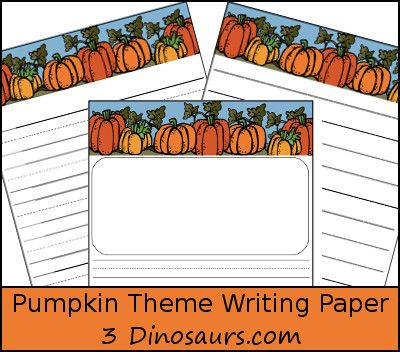 3 dinosaurs pumpkin themed writing paper