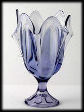 Viking Art Glass 6 Petal Teaberry Amethyst Compote Vase Vintage