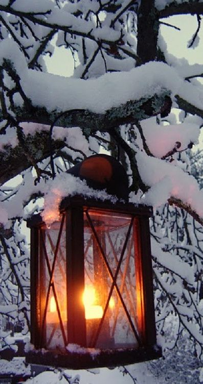 Lantern in the snow….very... on imgfave